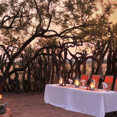 Kwafubesi Tented Camp Boma dinner setup